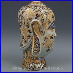 10.7 Chinese Ceramics Porcelain Blue White Spun Gold Shakyamuni Buddha Statue