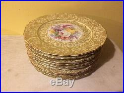 10 BOHEMIAN CZECH Porcelain China 10 5/8 Service Plates Dresden Flowers Gold