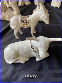 10 PIECE Lenox China Jewels Nativity Set Porcelain Gold HAPPY HOLIDAYS TO ALL