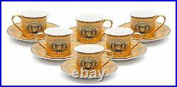 12 Piece Euro Porcelain Medusa Fine Bone China Tea Cup Coffee Set White / Gold