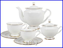 14-Piece Bone China Tea Set for 6 Persons White with 22k Gold Imperial Porcelain