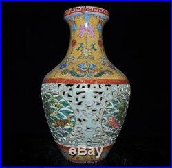 16China Enamel porcelain Old Gold Hollow Out Fish Flower Bottle Pot Vase Jar