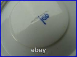 19c Antique English Gold & Blue China Hand Painted Porcelain Cup Saucer