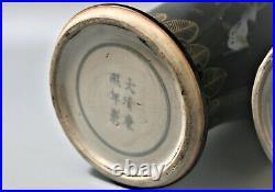 19th C. Chinese Porcelain Black Glazed Quality Gold Painted'kangxi' Vases Pair