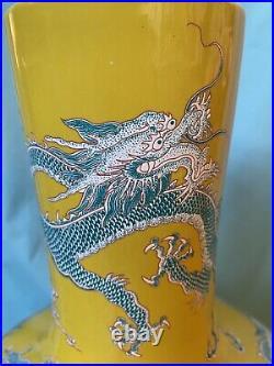 19th Century Chinese Guangxu Ground Enameled Porcelain Dragon Vase