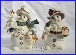 2001 Grandeur Noel Collector's Porcelain 5pc Snowman Family Set White Gold Decor