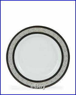 20 Piece Greek Key Bone China Dinner Dish Set for 4 White Black with Gold Trim