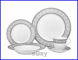 20 Piece Platinum Greek Key Bone China Dinner Serving Dish Set for 4 White