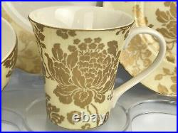 222 Fifth Emmalyn Gold Fine Porcelaine China 4 Piece Place Setting