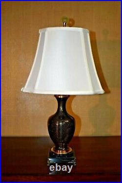 22 Chinese Vintage Cloisonne Vase Accent Table Lamp- Asian Oriental Porcelain