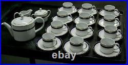 29 Pcs Cobalt & Gold Band VISTA ALEGRE Portugal China Set Teapot Cups & Saucers