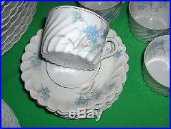 39 Pc Set Haviland China Bergere Blue Flowers Gold Trim NICE