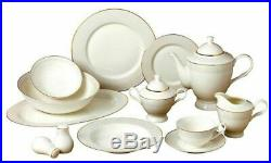 57 Piece Stardust Bone China Dinner Dish Set for 8 White Plates with Gold Trim