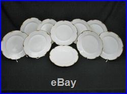 59 Pc. Carlsbad Austria China Set Service for 10 White Porcelain, Gold Rim (113)