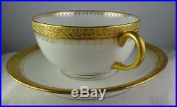 7 Pouyat Gold & White Limoges Porcelain China Large Flat Cup & Saucer Sets