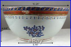 Antique 18thC Large Chinese Porcelain Bowl Cobalt Blue Flowers Gold Gilt