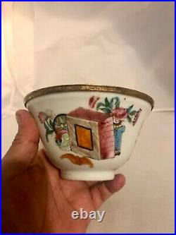 Antique 19th c chinese 9k gold mounted porcelain cup Lady warrior china poem