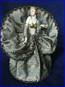 Antique 8 Egyptian Art Deco Half Doll Dressel Kister Gold Bra Tiara On Shade