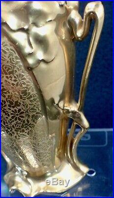 Antique Art Nouveau Gilded Porcelain Etched Floral Vase Chantilly Fine China
