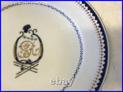 Antique Chinese Export Porcelain Plate with J R Harp Style Blue & Gold Decoration