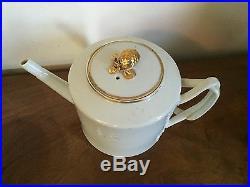 Antique Chinese Export Porcelain Tea Pot White Gold Gilt American Market 19th c