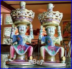 Antique Chinese Import Candlesticks Joss Holders Delightful Porcelain Figurines
