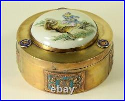 ^ Antique FINE Chinese Export Brass, Enamel & Hand Painted Porcelain Round Box