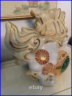Antique Japanese Porcelain Lion Foo Dog Figurine gold trim thick mold -11