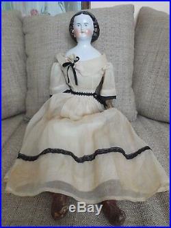 Antique Kestner China Head Doll 26 Mary Todd Lincoln Golden Snood Civil War Era