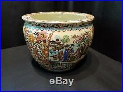 Antique Large Chinese Oriental Asian Pottery Porcelain Fish Bowl Planter