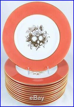 Artist J. Price Set 12 English 9 Plates Copeland Spode China Y6014 Salmon Gold
