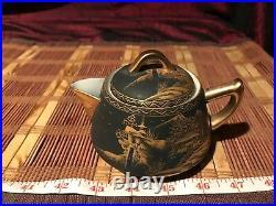 Asian Porcelain Satsuma Single Serve Teapot Hand painted Matte Black Gold Marked