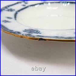 B&S Lowestoft Porcelain Blue/Black Floral Embossed Plate Bowl with Gold Edge 10.5