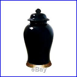 Beautiful Chinese Porcelain Black Temple Jar with Gold Leaf Wooden Stand 19