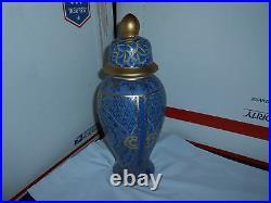 Beautiful Vtg/antique Gold Guilded Chinese Decorated 13 Blue Porcelain Urn Jar