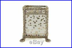 Beautiful White and Gold Floral Style Porcelain Tissue Box Holder Ormolu Accents