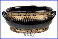 Black and Gold Geometric Porcelain Foot Bath 22