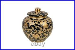 Black and Gold Tapestry Porcelain Ginger Jar 8