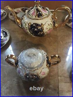 CZECH Thun 1794 China Porcelain 24Ct Gold Tea Set 16 Pcs Flowers /Cobalt Vng