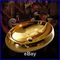 Ceramic Gold Glazed Porcelain Art Bathroom Sink Faucet Set Bathroom Basin Faucet