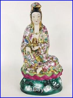 Chinese Famille Kwan Yin GuanYin Bodhisattva Goddess Lotus Porcelain Gilt Statue