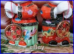 Chinese Jade Girl Gold Boy Porcelain Figurine Mid Century Vintage Ornament 60s