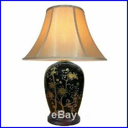 Chinese Oriental Black and Gold Tall Lamp with Shade 64 cms tall New Home Decor