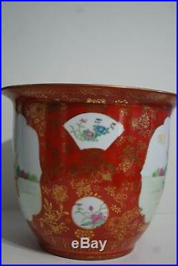 Chinese Porcelain Famille Rose Orange Gold Large Planter/ Kangxi