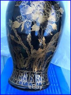 Chinese Porcelain Mirror Black Gold Gilt Auspicous Painted Antique Vase