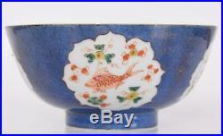 Chinese Powder Blue Gold & Iron Red Porcelain Bowl Boy & Sea Life Kangxi Period