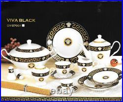 Dolce Vita Black & Gold Greek Key Design 57 Pcs Dinner Set, For 6 Persons