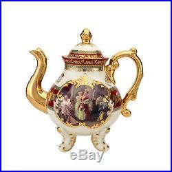 Euro Porcelain 11-pc Tea Cup Set Antique Red, 24K Gold Bone China Vintage Dining