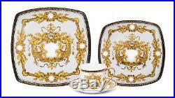 Euro Porcelain 16-Pc White Dining Set, 24K Gold Greek Key Bone China