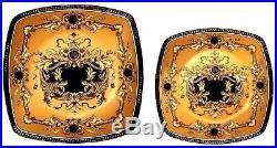 Euro Porcelain 16-Pc Yellow Deluxe Dining Set, 24K Gold Greek Key Bone China